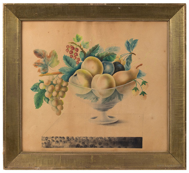 Antique Watercolor Theorem Painting, American School, Circa 1840's, entire view