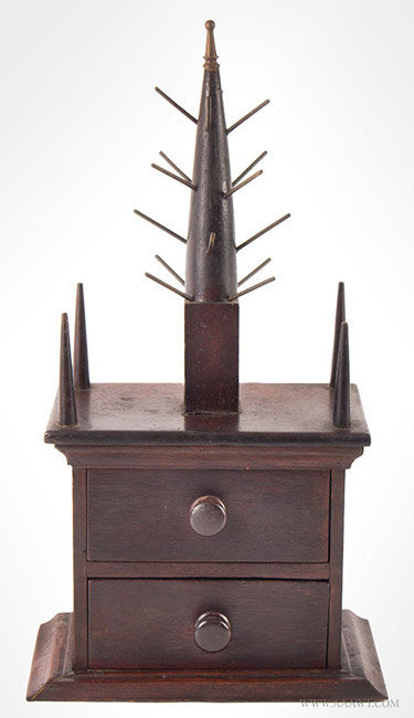 Antique Steeple Top Reel Stand and Work Box, Early 20th Century, entire view