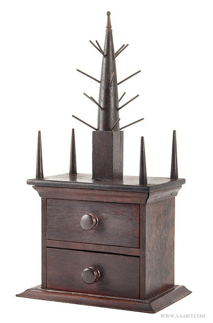 Antique Steeple Top Reel Stand and Work Box, Early 20th Century, angle view