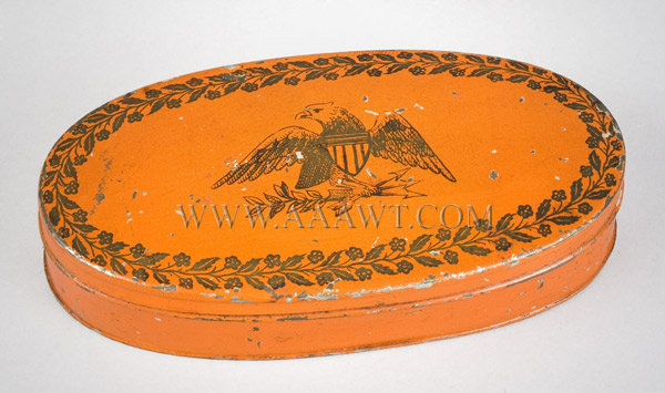 Tinned Oval Box, Original Red with Eagle Decoration Transfer Printed Great Seal Centered by Wreath of Leaves and Flowers 19th Century, entire view