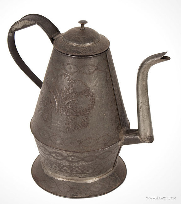 Antique Punched Tin Coffeepot with Gooseneck Spout, Circa 1840, angle view