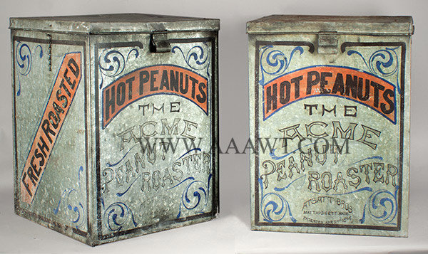 Antique Peanut Roasing Ovens, Tin, 1895, side by side view 1
