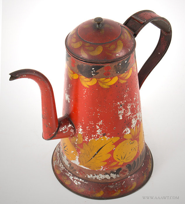 Antique Tole Coffeepot with Leaf and Floral Decoration, 19th Century, angle view