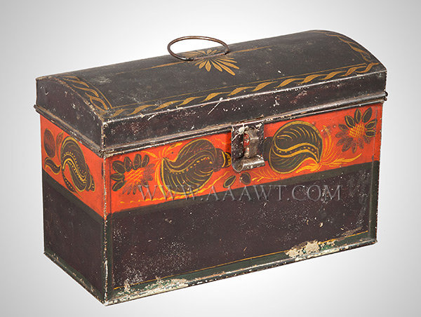 American Painted Tin Dome Top Document Box, Tole, Possibly Maine Filley Shop Lansingburgh, New York Second Quarter of 19th Century, entire view