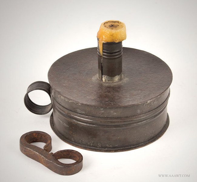 Antique Strike a Light Tinder Box with Candle Holder, New England, Circa 1770, entire view