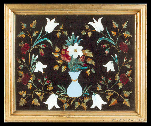 Antique Tinsel Floral Motif Painting, Circa 1880, entire view