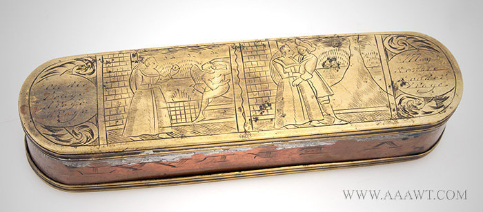 Tobacco Box, Engraved Brass and Copper Dutch, 18th Century, entire view