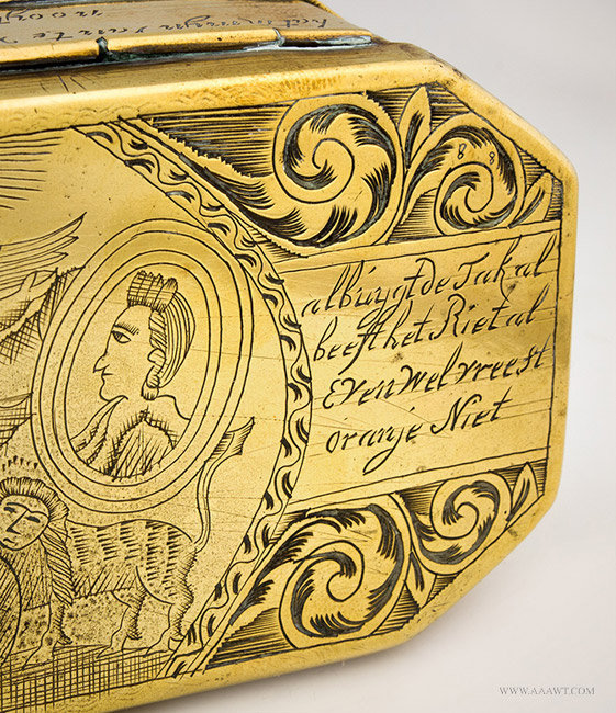 Antique Brass Dutch Tobacco Box, William of Orange, 18th Century, close up detail 3