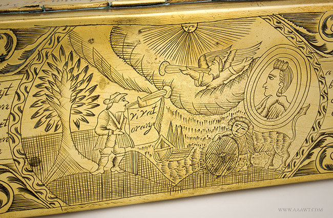 Antique Brass Dutch Tobacco Box, William of Orange, 18th Century, close up detail 2