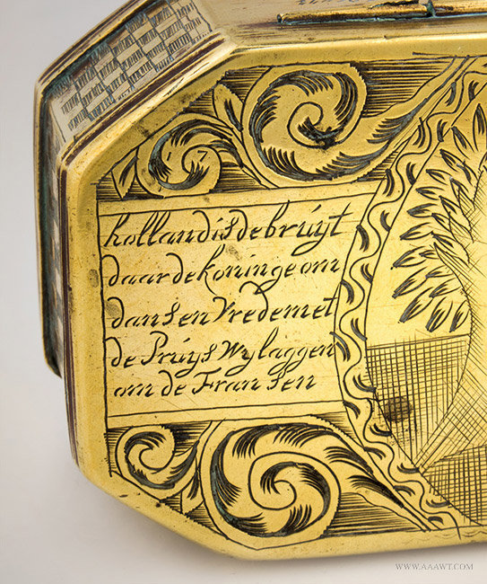 Antique Brass Dutch Tobacco Box, William of Orange, 18th Century, close up detail 1