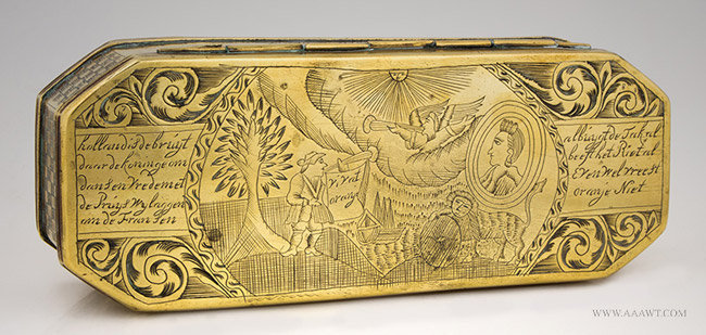 Antique Brass Dutch Tobacco Box, William of Orange, 18th Century, entire view