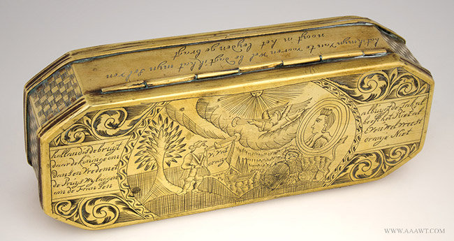 Antique Brass Dutch Tobacco Box, William of Orange, 18th Century, angle view