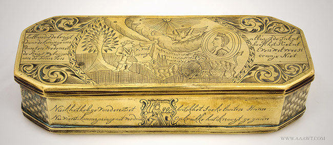 Antique Brass Dutch Tobacco Box, William of Orange, 18th Century, side view