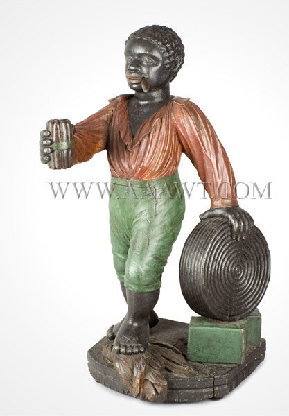 Antique Cigar Store Figure, Circa 1860 to 1870, Countertop, left angle view