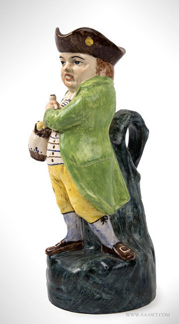 Antique Staffordshire Toby Jug in Colored Enamels, England, Circa 1820, angle view
