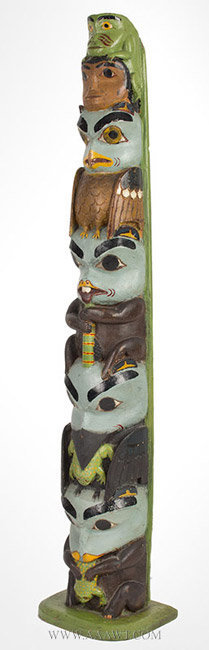 Antique Model Totem Pole with Six Figures, Circa 1925, angle view 1