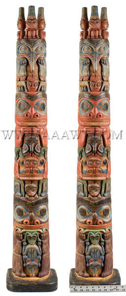 Antique Totem Pole, Painted and Carved, entire view with ruler for scale