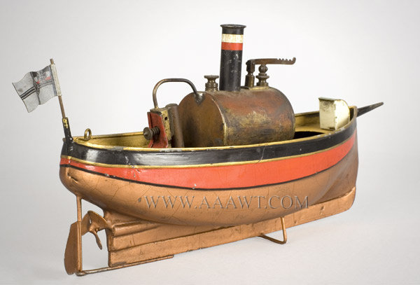 Antique Toy Ship, Steam Powered, With Flag and Burner, rear angle view