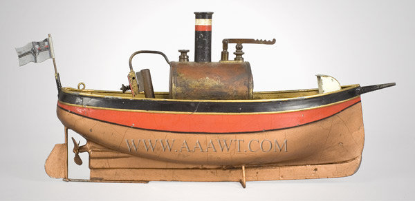 Antique Toy Ship, Steam Powered, With Flag and Burner, side view