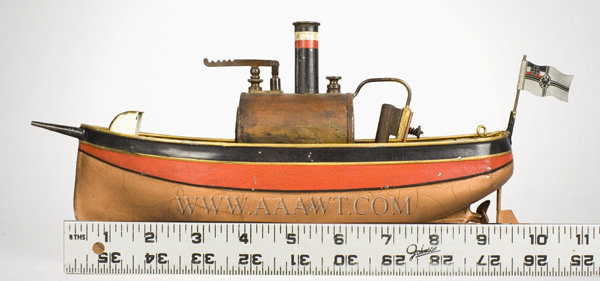 Antique Toy Ship, Steam Powered, With Flag and Burner, with ruler for scale