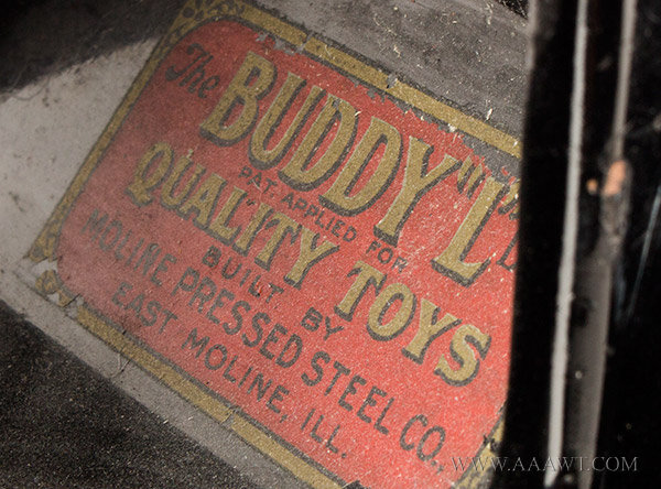 Antique Toy, Buddy 'L' Oil Truck, Circa 1925 to 1929, label detail