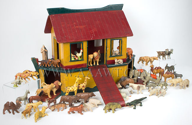 Antique Toy, Noah's Ark, 24 Pairs of Animals, Circa 1900, angle view