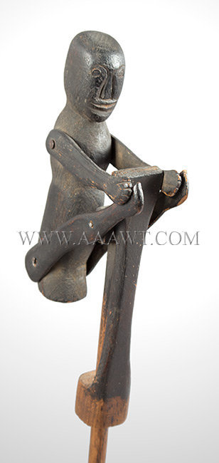 Antique Jumping Jack Push/Pull Toy, Circa 1900, Folk Art, right angle close up