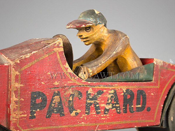 Antique Packard and Driver, Toy, Carved and Painted, driver detail