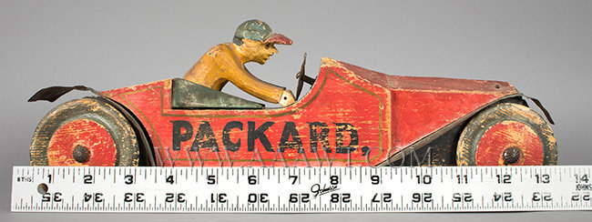 Antique Packard and Driver, Toy, Carved and Painted, with ruler for scale