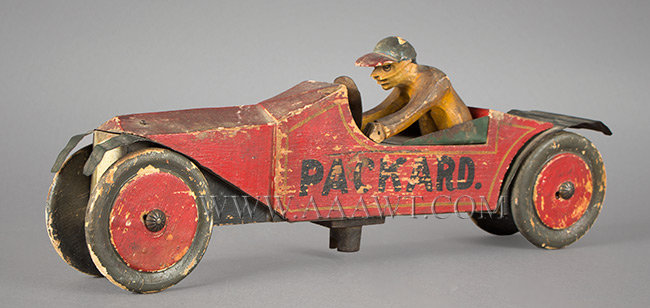 Antique Packard and Driver, Toy, Carved and Painted, right angle view