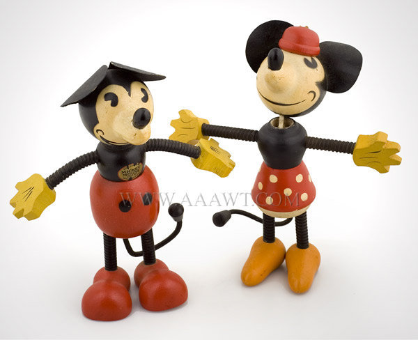 Antique Toys, Mickey and Minnie Mouse, Borgfeldt and Co., pair view