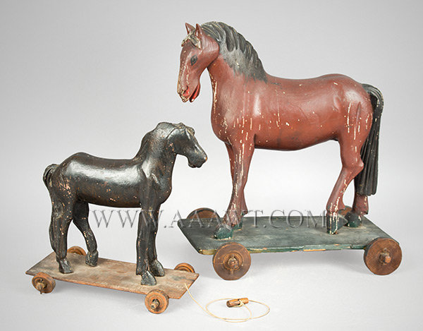 Antique Horse Pull Toys, Pair, Late 19th Century, pair view