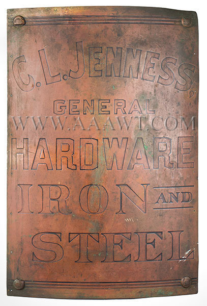 Hardware, Iron and Steel Trade Sign, Embossed Letters, Best Patina C.L. Genness Dover, New Hampshire, entire view