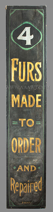 Antique Trade Sign, Furs Made to Order, Canvas on Frame, entire view