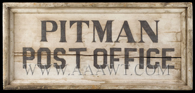 Antique Trade Sign, Pitman Post Office, 19th Century