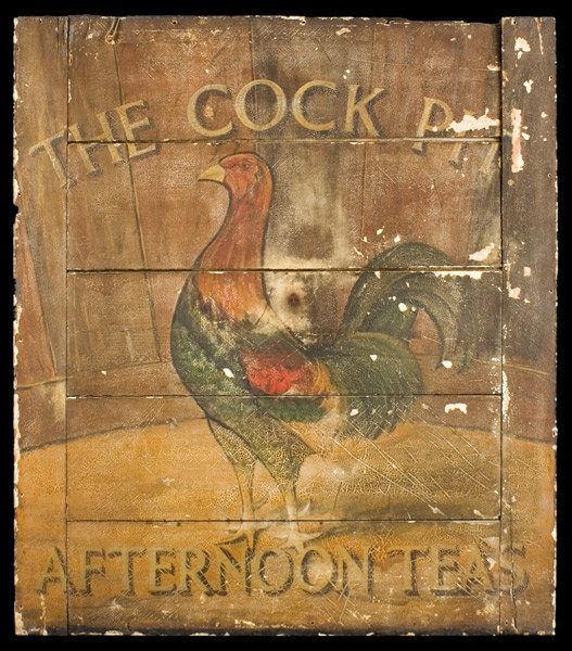 Antique Trade Sign, Cock Pit Tea Room, Original Paint, Circa 1880 to 1900ish, side 1 view