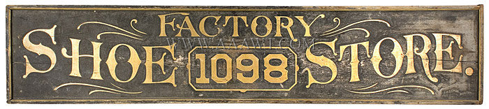 Antique Trade Sign, Factory Shoe Store, 19th Century, entire view
