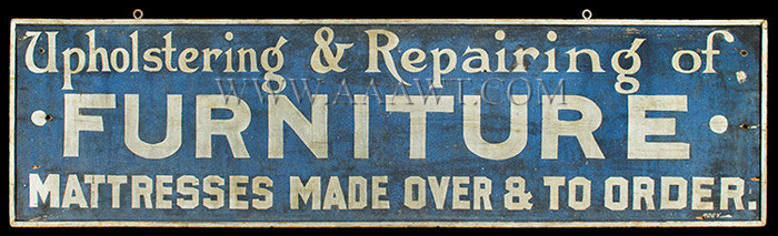 Antique Trade Sign, Furniture and Mattress Repair, Late 19th Century, entire view