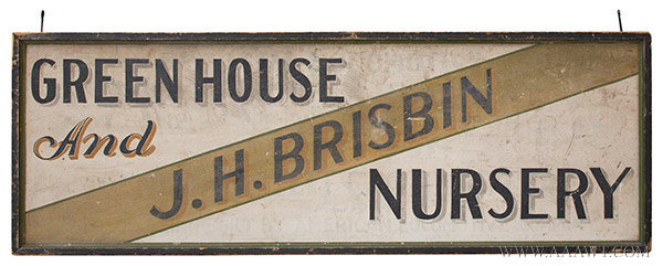 Antique Trade Sign, Green House and Nursery, Found in New York State, side 2 view