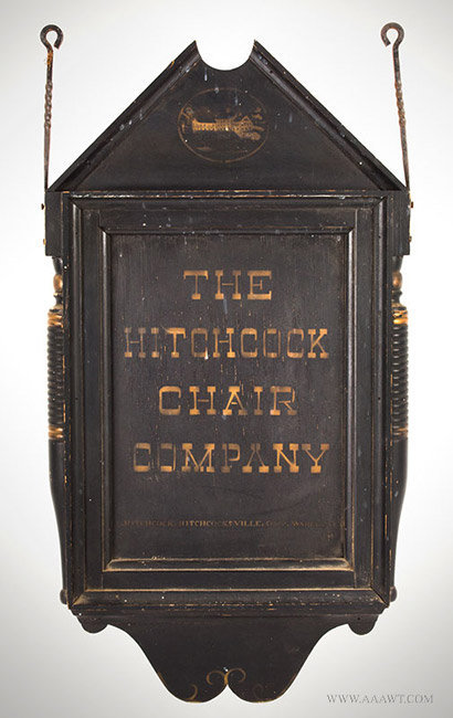 Vintage Hitchcock Chair Company Trade Sign with Applied Spindles, Connecticut, entire view