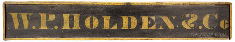 Antique Trade Sign for W.P. Holden, 19th Century, entire view