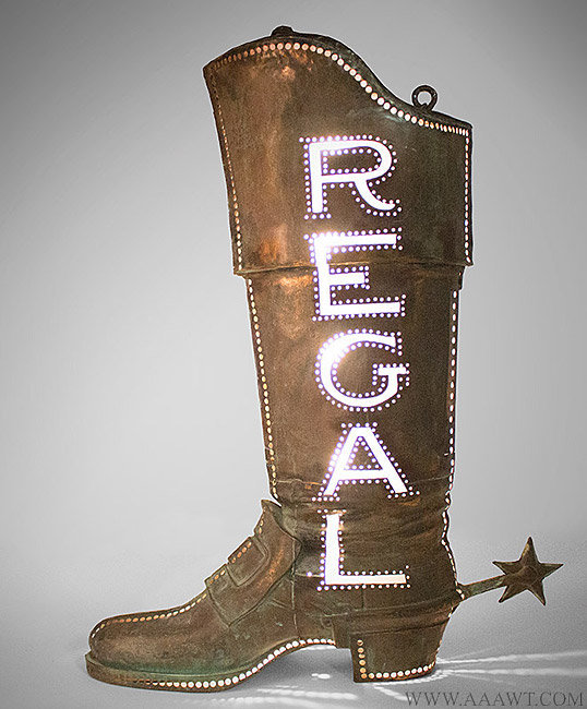 Antique Trade Sign, Regal Boot, Pierced and Illuminated, Early 20th Century, lit up facing left view