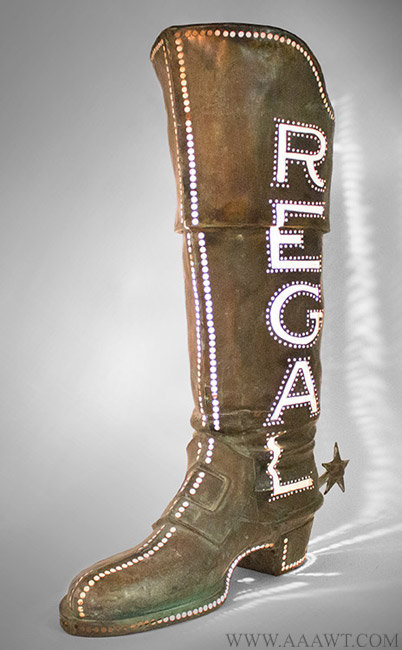 Antique Trade Sign, Regal Boot, Pierced and Illuminated, Early 20th Century, lit up angle view