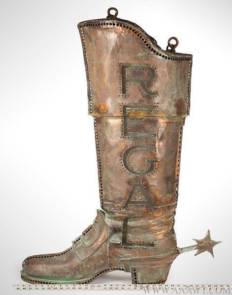 Antique Trade Sign, Regal Boot, Pierced and Illuminated, Early 20th Century, with ruler for scale