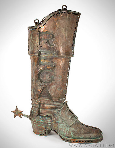 Antique Trade Sign, Regal Boot, Pierced and Illuminated, Early 20th Century, facing right view