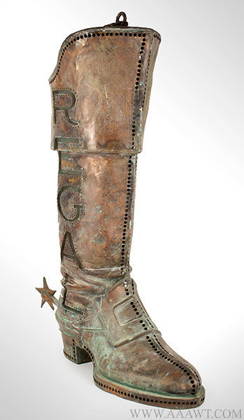 Antique Trade Sign, Regal Boot, Pierced and Illuminated, Early 20th Century, angle view