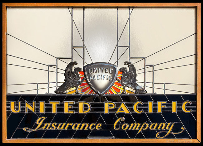 Vintage Art Deco Stained Glass Trade Sign for United Pacific Insurance Company, entire view