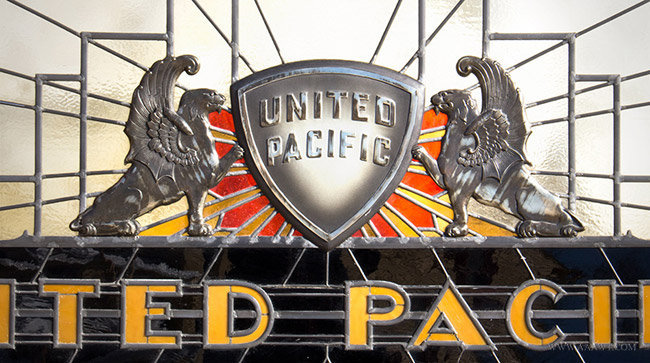 Vintage Art Deco Stained Glass Trade Sign for United Pacific Insurance Company, close up detail