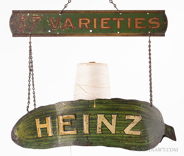 Antique Advertising Sign, Heinz Pickles, String Holder, 1910 to 1920, side 1 view