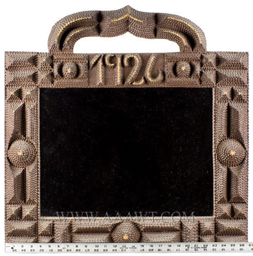 Antique Tramp Art Frame, with Mirror, Dated 1926, with ruler for scale